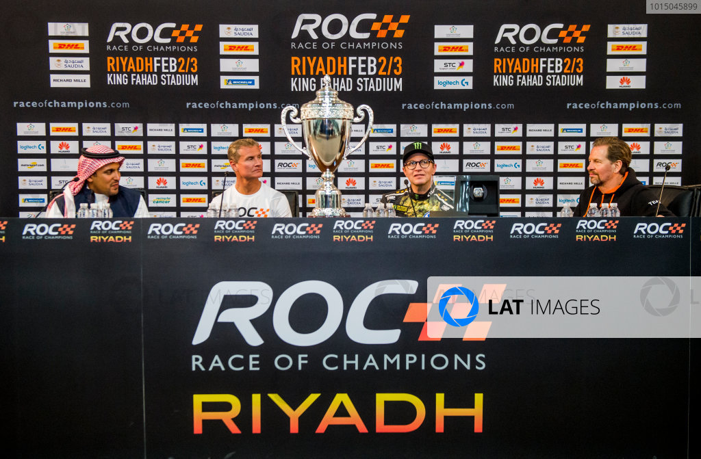 2018 Race Of Champions King Farhad Stadium, Riyadh, Abu Dhabi. Saturday 3 February 2018 Winner David Coulthard (GBR), runner up Petter Solberg (NOR), Prince Khaled Al Faisal, President of the Motor Federation Of Saudi Arabia and Fredrik Johnsson in the post event press conference. Copyright Free FOR EDITORIAL USE ONLY. Mandatory Credit: 'Race of Champions'