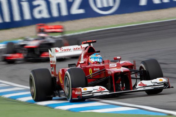 Hockenheimring, Hockenheim, Germany 22nd July 2012 Fernando Alonso, Ferrari F2012 leads Jenson Button, McLaren MP4-27 Mercedes.  World Copyright: Steve Etherington/LAT Photographic ref: Digital Image HC5C5752 copy