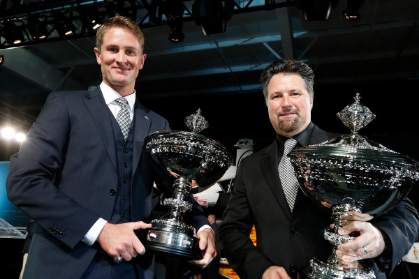 6 December, 2012, Indianapolis, Indiana, USA Ryan Hunter-Reay and Michael Andretti and Astor Cups.(c) 2012, Michael L. Levitt LAT Photo USA