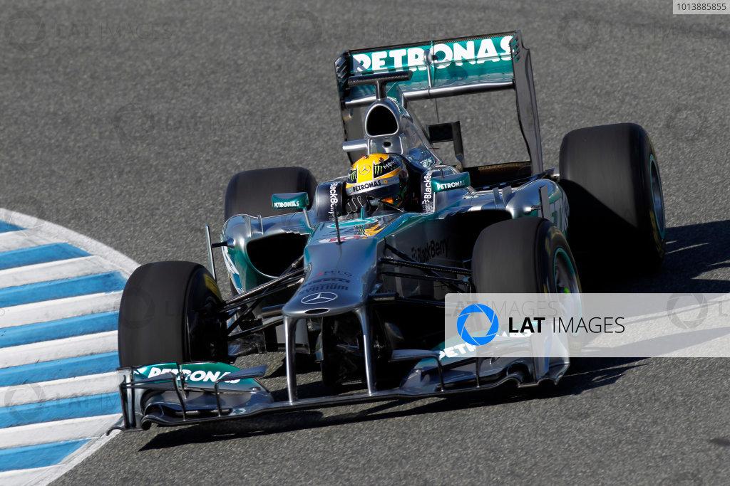 Circuito de Jerez, Jerez de la Frontera, Spain, 4th February 2013 Lewis Hamilton, Mercedes W04, tries out the new 2013 car. World Copyright: Andrew Ferraro/LAT Photographic ref: _Q0C2239