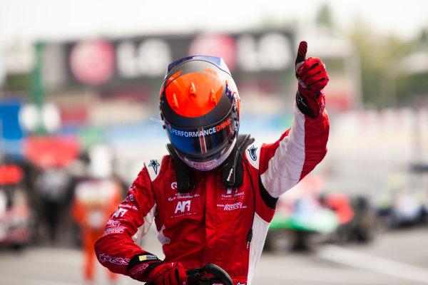 Circuit de Catalunya, Spain. 9th May 2010. Sunday Race. Alexander Rossi (USA, ART Grand Prix) celebrates victory in fparc ferme.Portrait. Photo: Drew Gibson/GP3 Media Service. Digital Image _Y9E0214