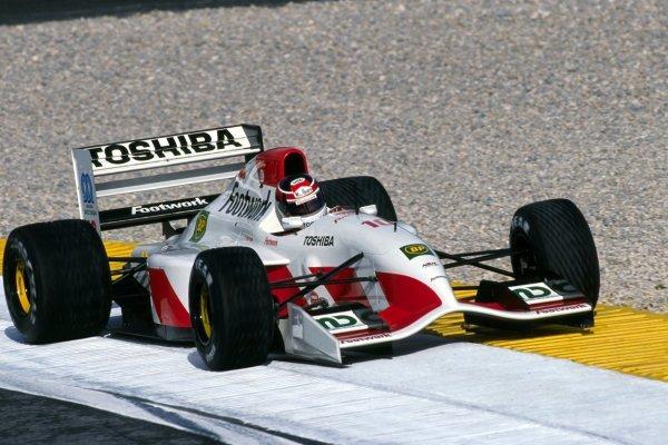 Aguri Suzuki (JPN) Footwork Mugen-Honda FA13. Portuguese Grand Prix, Rd14, Estoril, Portugal. 27 September 1992.
