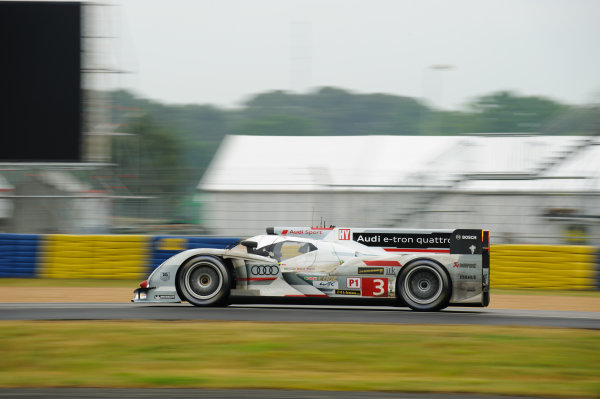 9th June, 2013, Le Mans, France Audi Sport Team Joest: Marc Gene, Lucas di Grassi, Oliver Jarvis.(c) 2013, Camden Thrasher LAT Photo USA