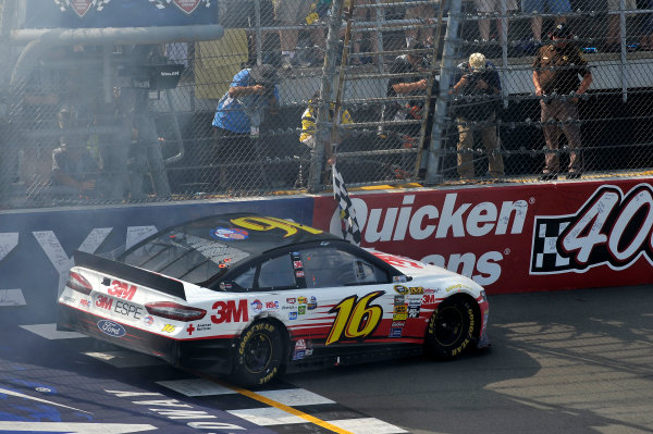 14-16 June, 2013, Brooklyn, Michigan USA Greg Biffle takes the checkered flag at the finish line after the win ©2013, Scott R LePage LAT Photo USA