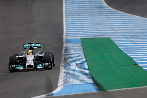 2014 F1 Pre Season Test 1 - Day 4 Circuito de Jerez, Jerez, Spain. Friday 31 January 2014. Lewis Hamilton, Mercedes W05. World Copyright: Andrew Ferraro/LAT Photographic. ref: Digital Image _79P7824.JPG