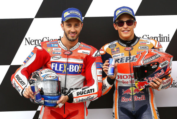 2017 MotoGP Championship - Round 11 Spielberg, Austria Saturday 12 August 2017 Second place for Andrea Dovizioso, Ducati Team, Polesitter Marc Marquez, Repsol Honda Team World Copyright: Gold and Goose / LAT Images ref: Digital Image 686310