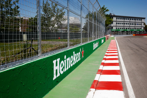"Circuit Gilles Villeneuve, Montreal, Canada. Thursday 08 June 2017. Heineken branding at the final corner, sometimes referred to as the ""Wall of Champions"", at the Circuit Gilles Villeneuve. World Copyright: Andy Hone/LAT Images ref: Digital Image _ONZ0035"