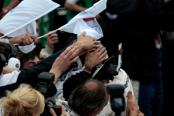 2017 DTM Round 4 Norisring, Nuremburg, Germany Sunday 2 July 2017. Race winner Maxime Martin, BMW Team RBM, BMW M4 DTM World Copyright: Alexander Trienitz/LAT Images ref: Digital Image 2017-DTM-R3-NOR-AT1-3685