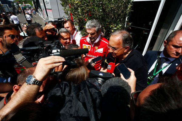 Red Bull Ring, Spielberg, Austria. Sunday 09 July 2017. Sergio Marchionne, Chief Executive Officer, Fiat Chrysler and Chairman, Ferrari, and Maurizio Arrivabene, Team Principal, Ferrari, talk to the media. World Copyright: Andy Hone/LAT Images ref: Digital Image _ONY2267