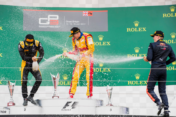 2017 GP3 Series Round 3.  Silverstone, Northamptonshire, UK. Sunday 16 July 2017. Jack Aitken (GBR, ART Grand Prix), Giuliano Alesi (FRA, Trident), Niko Kari (FIN, Arden International).  Photo: Zak Mauger/GP3 Series Media Service. ref: Digital Image _56I0253