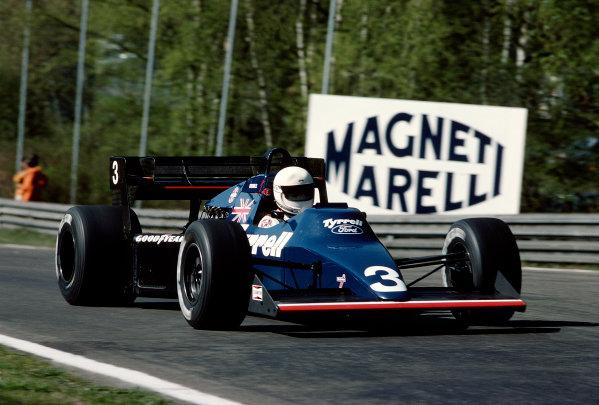 Zolder, Belgium.27-29 April 1984.Martin Brundle (Tyrrell 012 Ford).Ref-84 BEL 34.World Copyright - LAT Photographic