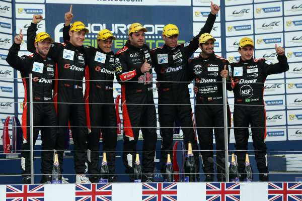 2015 FIA World Endurance Championship, Silverstone, England. 10th-12th April 2015 P2 Podium, Roman Rusinov (RUS) / Julien Canal (FRA) / Sam Bird (GBR) Ligier JS P2 - Nissan wins World copyright. Ebrey/LAT Photographic
