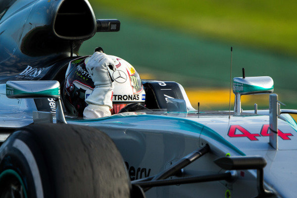 race winner Lewis Hamilton (GBR) Mercedes AMG F1 W06 celebrates at the end of the race at Formula One World Championship, Rd1, Australian Grand Prix, Race, Albert Park, Melbourne, Australia, Sunday 15 March 2015.