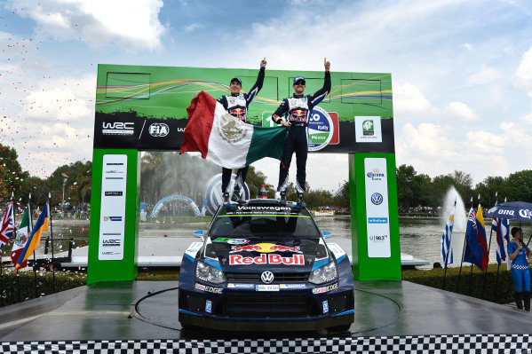 Rally winners Sebastien Ogier (FRA) / Julien Ingrassia (FRA), Volkswagen Polo R WRC celebrate on the podium at World Rally Championship, Rd3, Rally Mexico, Day Three, Leon, Mexico, 8 March 2015.