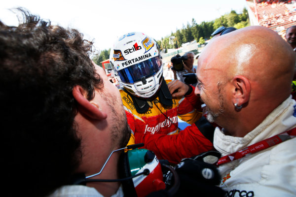 Antonio Giovinazzi (ITA, PREMA Racing) celebrates with his team 2016 GP2 Series Round 6 Spa-Francorchamps, Spa, Belgium Sunday 28 August 2016  Photo: /GP2 Series Media Service ref: Digital Image _SLA5056