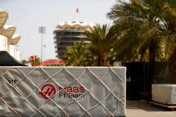 Bahrain International Circuit, Sakhir, Bahrain.  Tuesday 18 April 2017. Haas frieght in the paddock. World Copyright: Glenn Dunbar/LAT Images ref: Digital Image _31I3828
