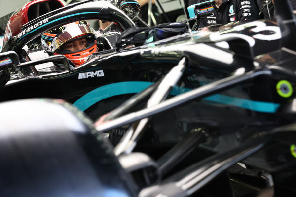 George Russell, Mercedes-AMG Petronas F1 in his car