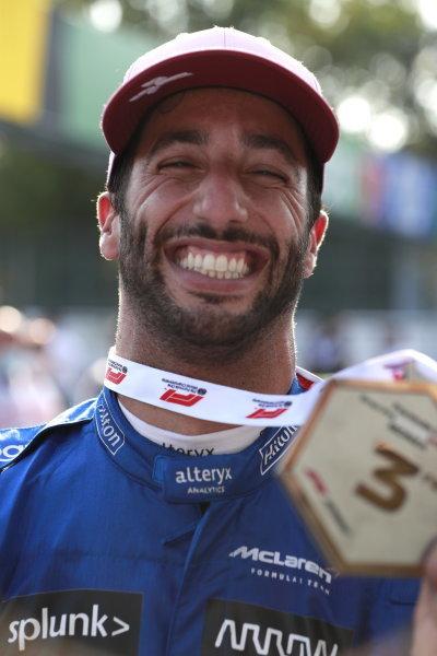 Daniel Ricciardo, McLaren, 3rd position, with his medal
