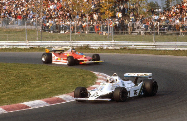 1979 Canadian Grand Prix.Montreal, Quebec, Canada.28-30 September 1979.Alan Jones (Williams FW07 Ford) 1st position followed by Gilles Villeneuve (Ferrari 312T4) 2nd position.Ref-79 CAN 03.World Copyright - LAT Photographic