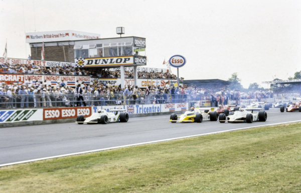 Alan Jones, Williams FW07 Ford leads Jean-Pierre Jabouille, Renault RS10 and Clay Regazzoni, Williams FW07 Ford at the start.
