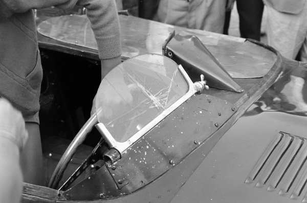 Chipped windscreen on one of the Jaguar D-Type cars.