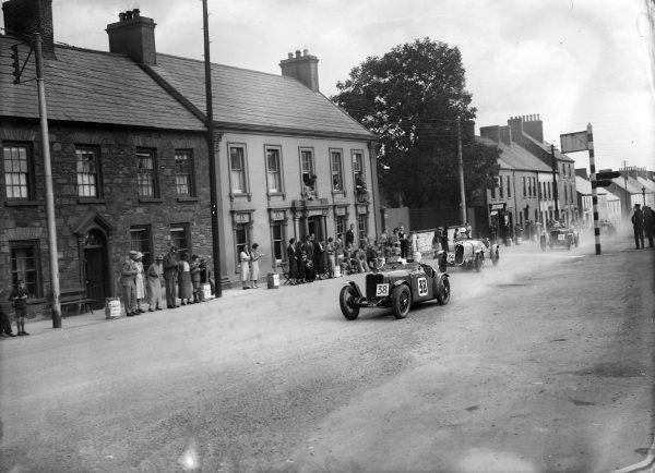 Norman Black, W. E. Bullock, Singer 9 Le Mans Replica, leads, F. H. ffrench-Davis, Fiat 508S,  and A. H. Langley, W. E. Bullock, Singer 9 Le Mans Replica.