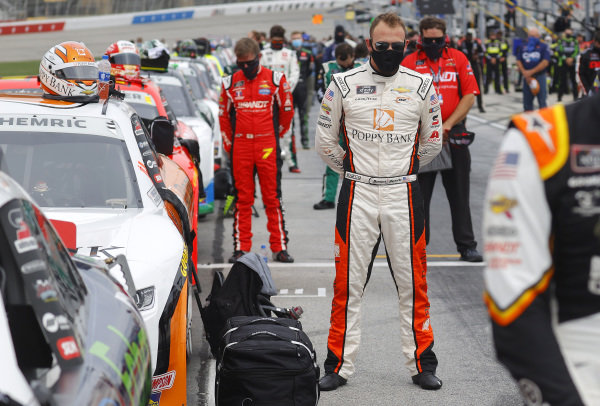 Daniel Hemric, JR Motorsports Chevrolet CORE Development Group, stands for the national anthem, Copyright: Chris Graythen/Getty Images.