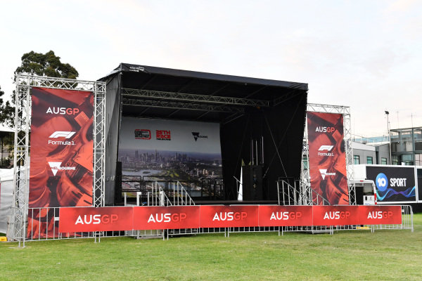 Empty stage in the fans area
