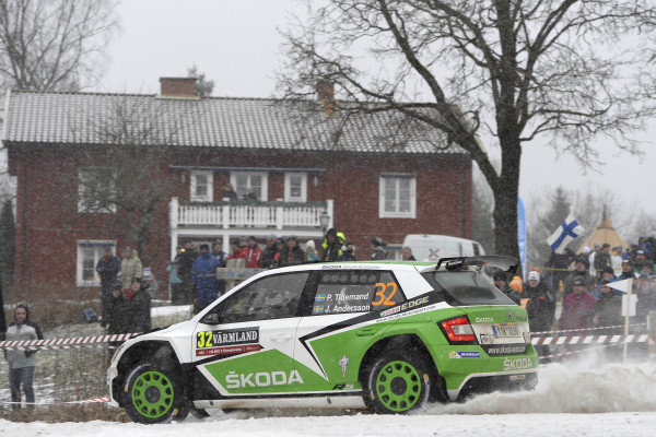 Pontus Tidemand (SWE) / Jonas Andersson (SWE), Skoda Motorsport Fabia R5 WRC2 at World Rally Championship, Rd2, Rally Sweden, Day One, Karlstad, Sweden, 12 February 2016.