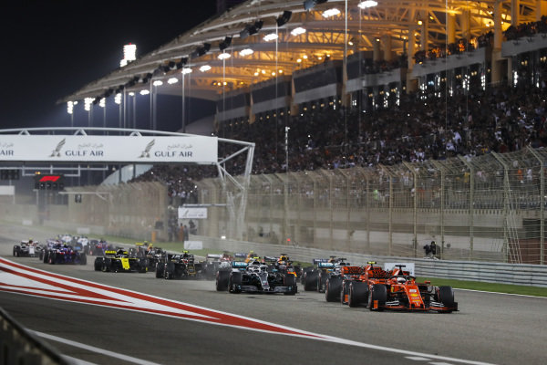 Sebastian Vettel, Ferrari SF90 leads at the start of the race followed by Charles Leclerc, Ferrari SF90, Valtteri Bottas, Mercedes AMG W10 and Lewis Hamilton, Mercedes AMG F1 W10