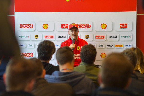Sebastian Vettel, Ferrari, holds a press conference