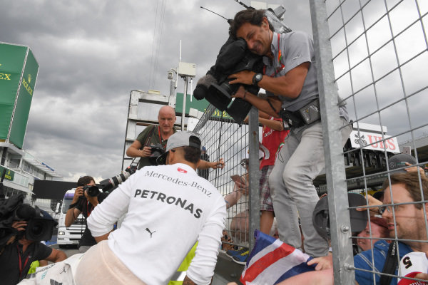 Lewis Hamilton (GBR) Mercedes AMG F1 celebrates with the fans at Formula One World Championship, Rd12, German Grand Prix, Race, Hockenheim, Germany, Sunday 31 July 2016.