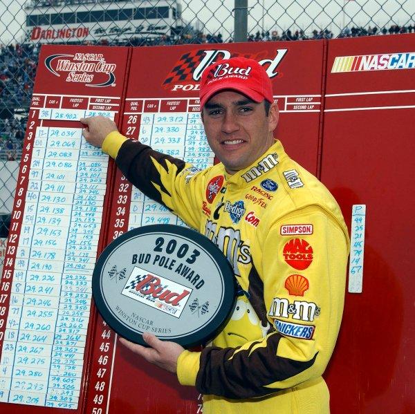 2003 NASCAR Darlington 400,March 14-16 2003Elliott Sadler pointing to his pole winning time,World Copyright-RobtLeSieur2003LAT Photographic