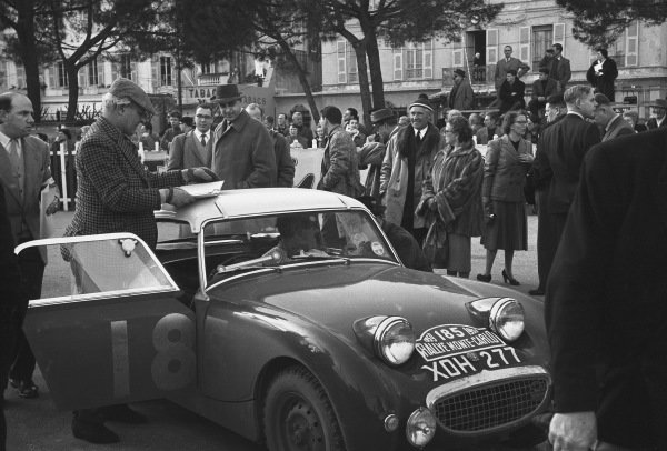 1959 Monte Carlo Rally. Monte Carlo Monaco. 16th - 25th January 1959. Tommy Wisdom / Douglas Johns (Austin-Healey Sprite), 5th in Class, 63rd overall. World Copyright: LAT Photographic.  Ref:  8148A - 27.