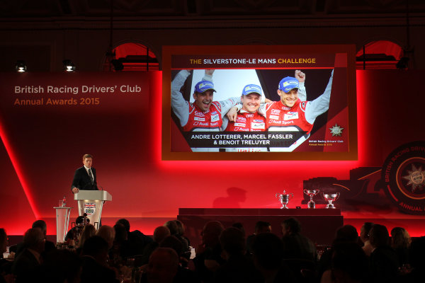 2015 British Racing Drivers Club Awards Grand Connaught Rooms, London Monday 7th December 2015 Andre Lotterer, Marcel Fassler and Benoit Treluyer on screen. World Copyright: Jakob Ebrey/LAT Photographic ref: Digital Image Audi-03
