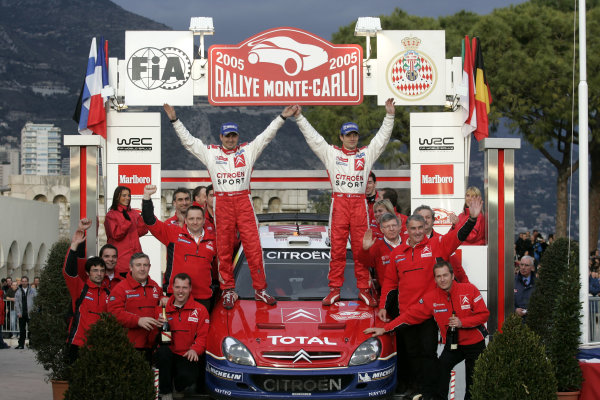 2005 FIA World Rally Champs. Round one, Rally Monte Carlo 20th-23rd January 2005. Sebastien Loeb, Citreon, podium World Copyright: McKlein/LAT