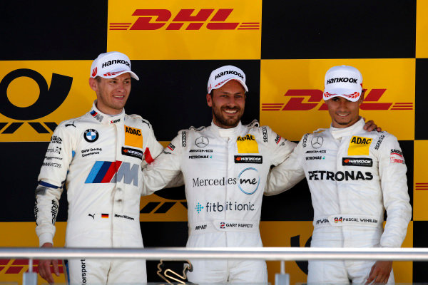 Podium: Race winner Gary Paffett Mercedes-AMG Team HWA, second place Marco Wittmann, BMW Team RMG, third place Pascal Wehrlein, Mercedes-AMG Team HWA.