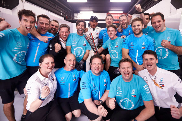 Lewis Hamilton, Mercedes AMG F1, 1st position, celebrates with his team.