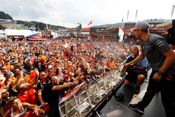 Spa Francorchamps, Belgium.  Saturday 26 August 2017. Stoffel Vandoorne, McLaren, on stage in the F1 Fanzone. World Copyright: Steven Tee/LAT Images  ref: Digital Image _R3I0464