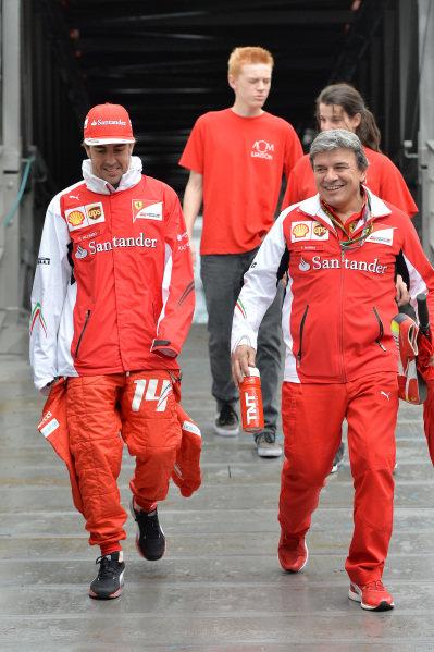 Fernando Alonso (ESP) Ferrari, left, arrives at the circuit. Formula One World Championship, Rd6, Monaco Grand Prix, Practice, Monte-Carlo, Monaco, Thursday 22 May 2014.
