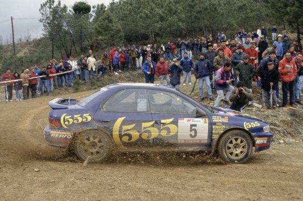 1995 World Rally Championship.Portuguese Rally, Portugal. 8-10 March 1995.Carlos Sainz/Luis Moya (Subaru Impreza 555), 1st position.World Copyright: LAT PhotographicRef: 35mm transparency 95RALLY03