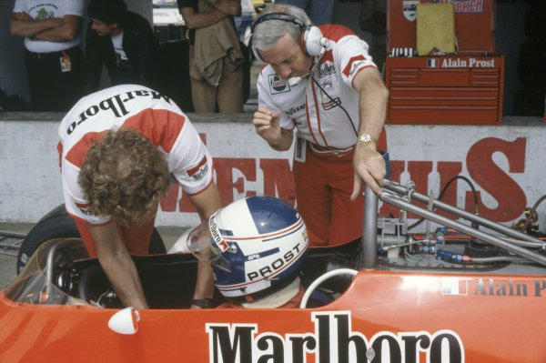 1980 Austrian Grand Prix.Osterreichring, Zeltweg, Austria. 15-17 August 1980.Teddy Mayer (standing) with Alain Prost (McLaren M29-Ford Cosworth), 7th position. Portrait.World Copyright: LAT PhotographicRef: 35mm transparency 80AUT04