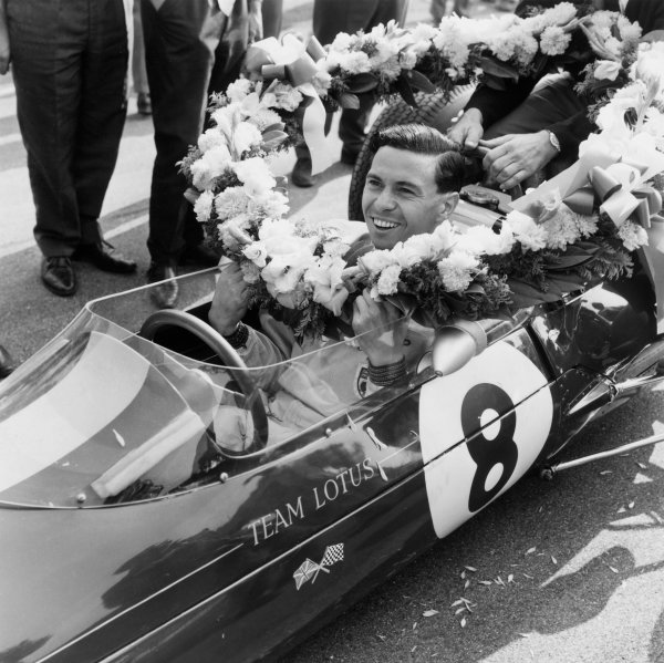 Monza, Italy. 6 - 8 September 1963.Jim Clark (Lotus 25 Climax),1st position and clinching the drivers and constructors World Championship titles, portrait. World Copyright: LAT Photographic.Ref:  11624.