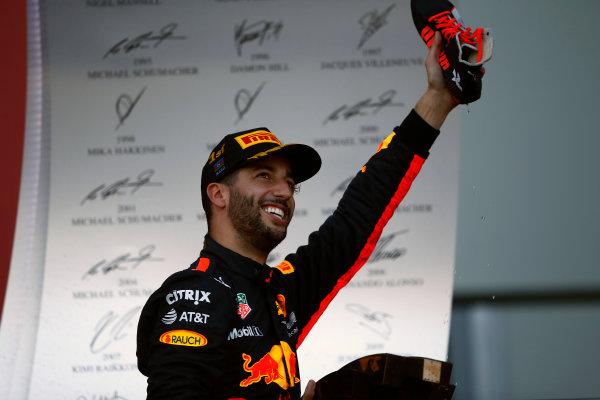 Baku City Circuit, Baku, Azerbaijan. Sunday 25 June 2017. Daniel Ricciardo, Red Bull Racing, 1st Position. World Copyright: Andrew Hone/LAT Images ref: Digital Image _ONY9239