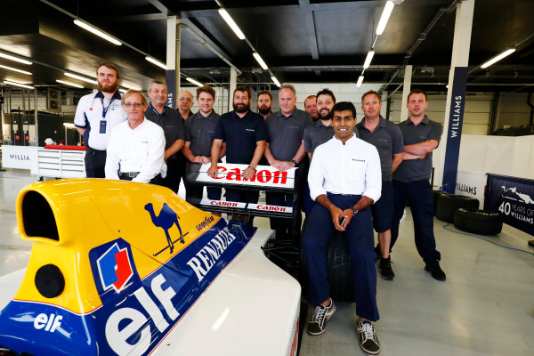 Williams 40 Event Silverstone, Northants, UK Friday 2 June 2017. A group photo next to the Williams FW14B Renault.  World Copyright: Sam Bloxham/LAT Images ref: Digital Image _W6I6805