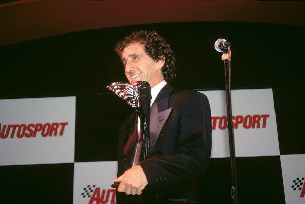 1993 Autosport Awards. Grosvenor House Hotel, Park Lane, London, Great Britain. 5th December 1993. Alain Prost receives an award.World Copyright: LAT Photographic. Ref: Colour Transparency.