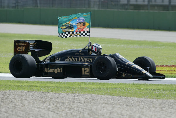 2004 San Marino Grand Prix - Sunday Race,2004 San Marino Grand Prix Imola, Italy. 25th April 2004.Gerhard Berger drives the Lotus 97T of his great friend and team mate, Ayrton Senna as a tribute on the 10th Anniversary of his death at this circuit. World Copyright: Steve Etherington/LAT Photographic ref: Digital Image Only