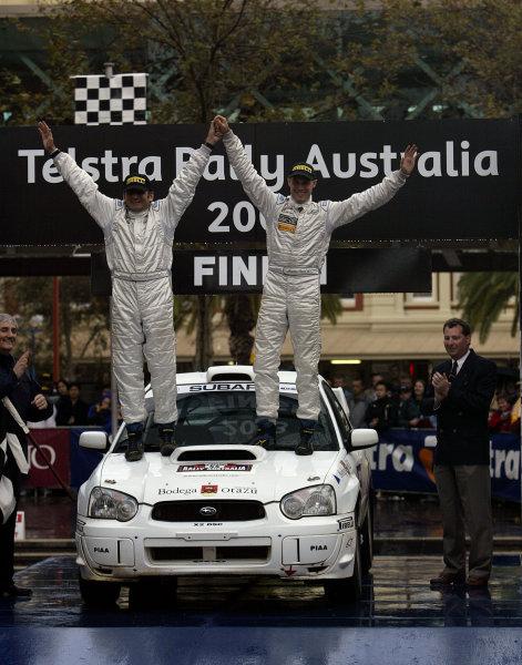 2003 FIA World Rally Champs. Round Ten Telstra Rally Australia 4th-7th September 2003.Martin Rowe, Subaru Group N, Podium.World Copyright: McKlein/LAT