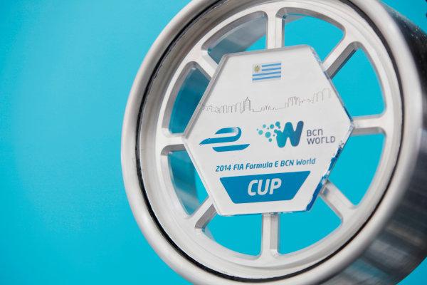 2014 FIA Formula E Championship. Punta del Este ePrix, Uruguay. Sebastien Buemi's trophy (SWI)/E.dams Renault - Spark-Renault SRT_01E  Photo: Zak Mauger/LAT/FE ref: Digital Image _MG_0136