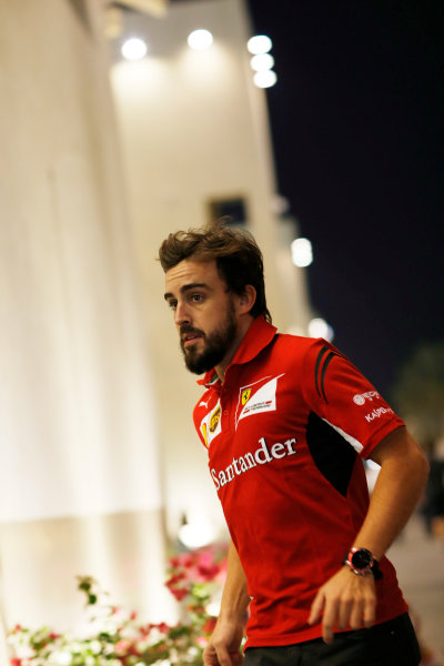 Yas Marina Circuit, Abu Dhabi, United Arab Emirates. Friday 21 November 2014. Fernando Alonso, Ferrari. World Copyright: Charles Coates/LAT Photographic. ref: Digital Image _J5R3873